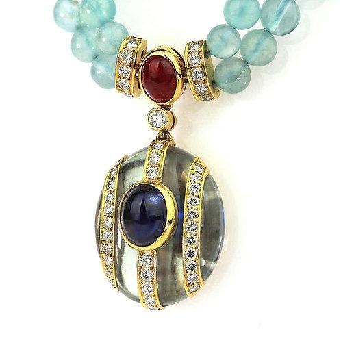 Kutchinsky Double Strand Aquamarine Bead Necklace with Diamonds, Ruby, Sapphire