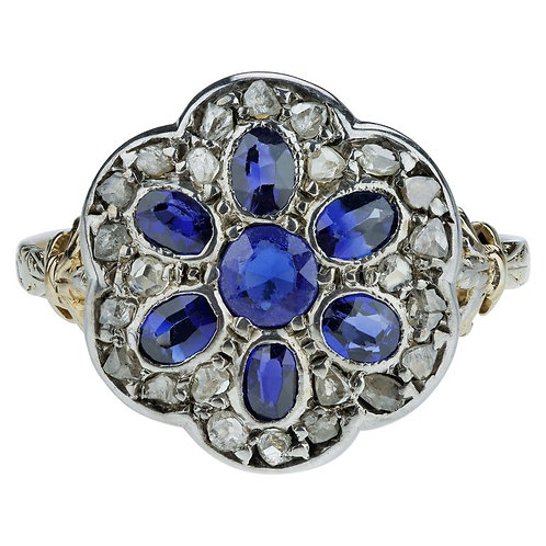 Antique Victorian / Edwardian Sapphire and Rose Cut Diamond Cluster Ring
