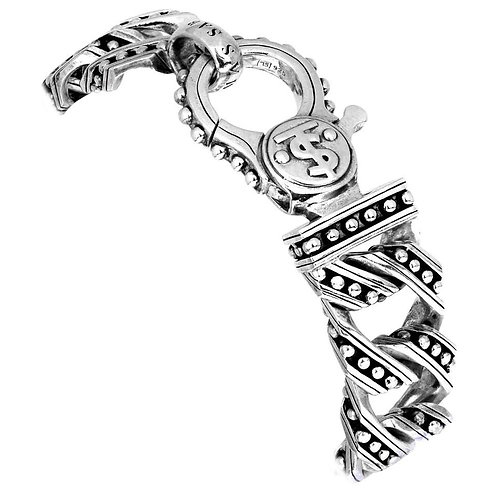 Thomas Sabo Heavy Curb Silver Bracelet with Dollar Sign, British Hallmarked