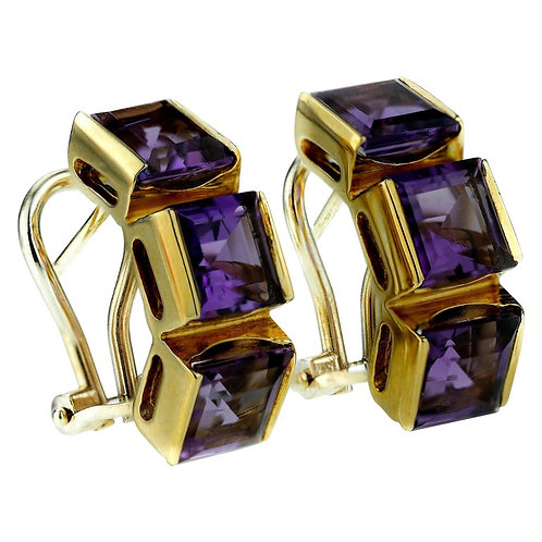 Pair of Amethyst Earrings with Pin and Omega Fittings in 18 Karat Yellow Gold
