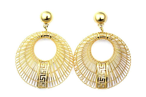 Pair of Earrings and Matching Pendant, Greek Key Design in 18 Karat Yellow Gold