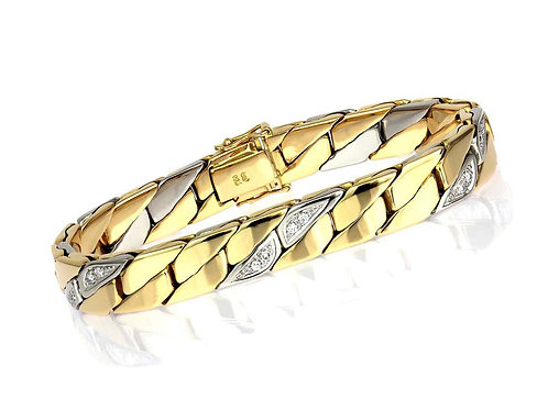 Gents Diamond Curb Bracelet in Bimetal 18K Yellow and White Gold, Heavy, Solid