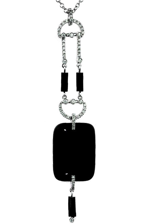 Onyx and Diamond Drop Necklace/Chain with Pendant in 18K White Gold Hallmarked