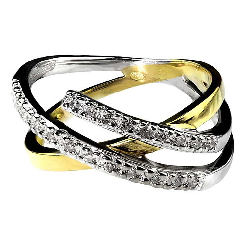 Abstract Design Diamond Ring Set in 18 Carat Yellow and White Gold, French