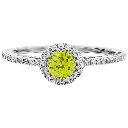 Fancy Vivid Yellow 0.36ct & White Round Brilliant Cut Diamond Cluster Ring