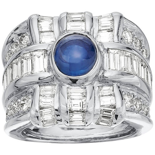 Diamond & sapphire ring in 18K white gold, wide band chunky statement ring