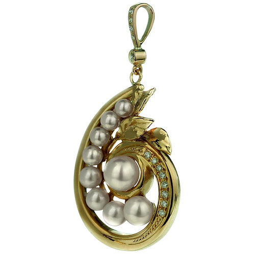 Diamond and Akoya Sea-Water Cultured Pearl Spiral Shell Pendant in 18 Karat Gold