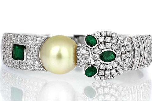 Diamond Hinged Bangle with South Sea Cultured Pearl & Emerald in 18K White Gold