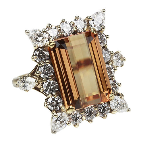 Big Rectangular Imperial Topaz in Orange Color Ring Surrounded by Diamonds