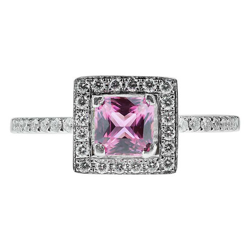 Princess Cut Pink Sapphire and Diamond Square Cluster Ring in 18K Gold