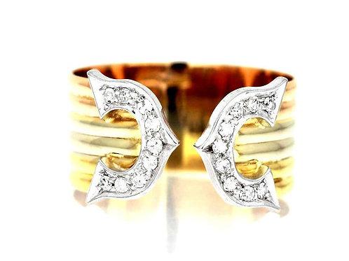 """C"" Logo Diamond Ring in Three Colours, 18 Carat Yellow, White & Rose Gold"
