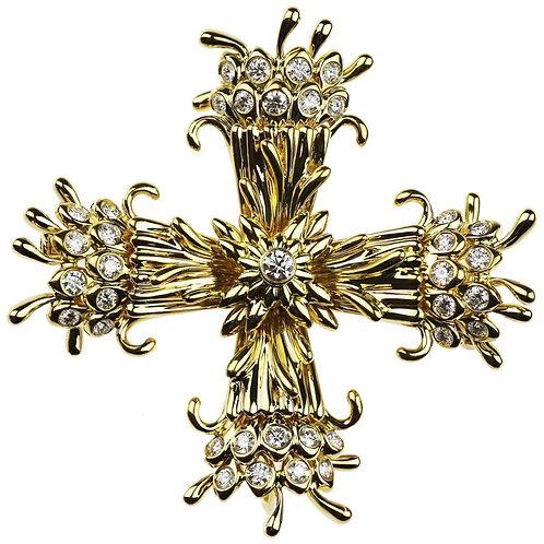 Tiffany & Co. Schlumberger Diamond Maltese Cross Clip-Brooch/Pendant 18K Gold