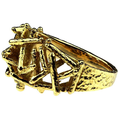 Designer Kutchinsky, Vintage 1970 British Hallmark Abstract 18 Karat Gold Ring