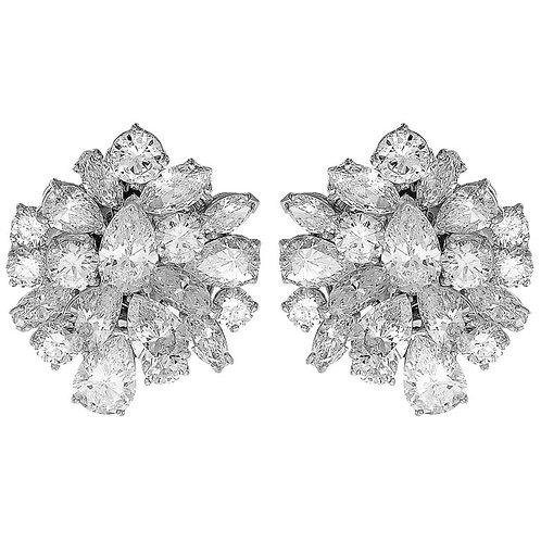 Retro 1970s Certified Diamonds D-F Clip-On Statement Earrings/Pendant/Brooch