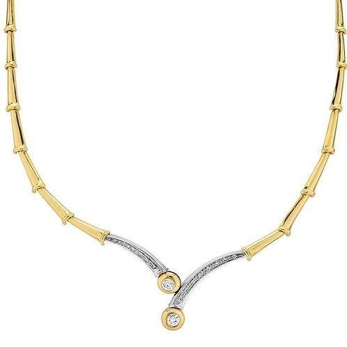 Round Brilliant Diamond Flexible Bamboo Links Necklace/Tiara in 18 ct Gold