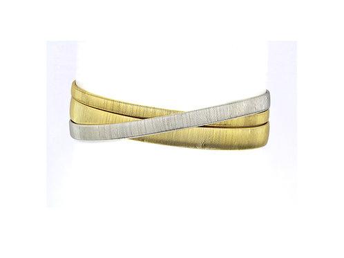 Marco Bicego Bimetal 18K Yellow & White Gold Three Row/Strand Crossover Bracelet