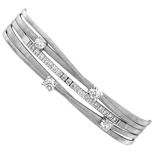 Marco Bicego Diamond Five-Row Bracelet in 18 Carat White Gold