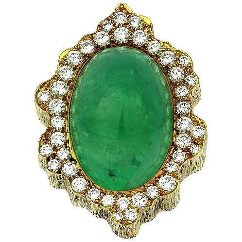 Andrew Grima Big Emerald and Diamond Ring, Vintage 1970 in Aesthetic Design