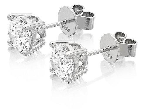 GIA Certified 3.06ct G VS1 Single Stone Solitaire Stud Round Diamond Earrings
