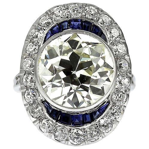 Antique Big Old Cut Diamond 6.6 Carat with Sapphire Ring in Platinum