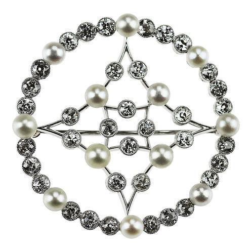 Edwardian Natural Pearl and Old European Diamonds Platinum Circular Brooch