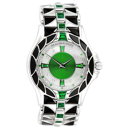 Mauboussin, Retro, Diamond and Emerald Watch in 18 Carat White Gold, Automatic