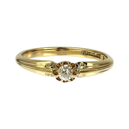 Antique Old European Cut Diamond Ring in 18-Carat Yellow Gold in Original Box