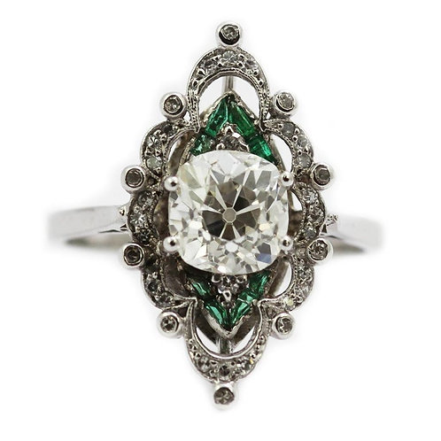 Antique Edwardian Old Cushion Cut Diamond 1.95ct with Emerald Ring in Platinum