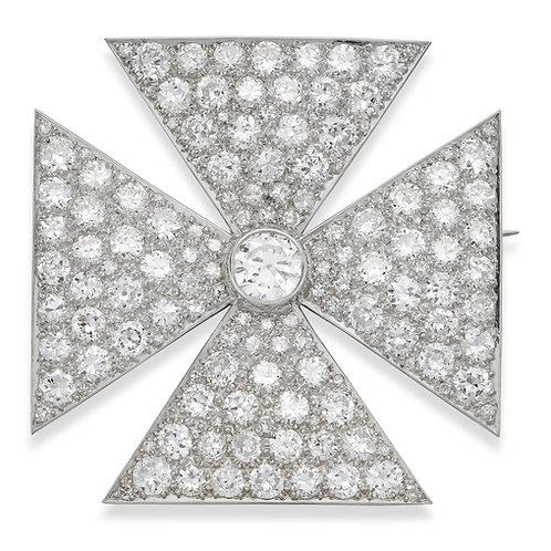 Antique Old European Cut Diamond Maltese Cross Brooch in Platinum