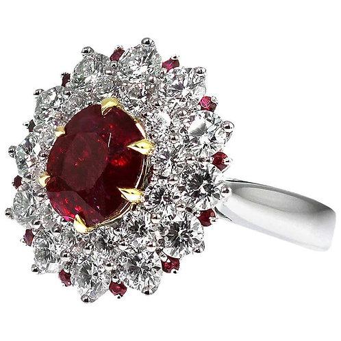 Gubelin Certified Burma 'Myanmar' Ruby, Natural Unheated 2.53ct & Diamonds Ring