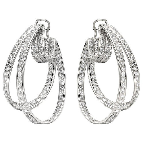 6.5 ct Natural Round Brilliant in&out Diamond Oval Fancy Hoop Earrings 18ct Gold