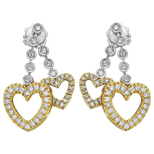Diamond Earrings in 18K White and Yellow Gold Drop Heart with Shadows