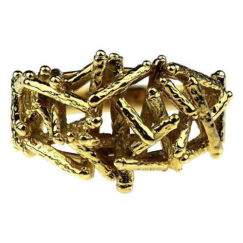 Designer Kutchinsky, Vintage 1970 British Hallmark Abstract 18 Karat Gold Ring