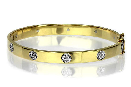 Diamond Set Love Bangle, Screw Motif in Bimetal 18 Carat White and Yellow Gold