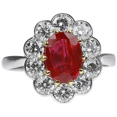 SSEF Certified Natural Burmese Ruby 1.55 ct & Diamonds set Oval Cluster Ring