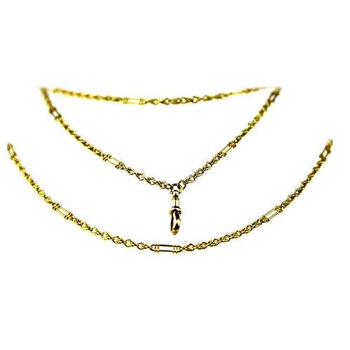 Antique Edwardian British Hallmarked 15K Gold Long Guard Chain/ 2 Row Gold Chain