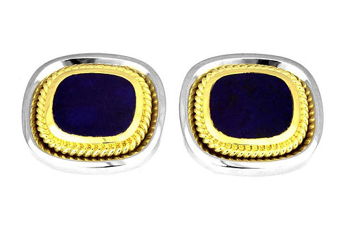 A Pair of Classic Cufflinks with Lapis Lazuli in Bimetal 18K White & Yellow Gold