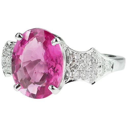 GTL Certified 4.53 Carat Pink Sapphire and Diamond Ring