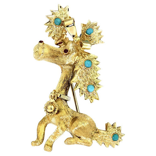 Retro 1960s Stylized 3D Poodle/Puppy/Dog Pin/Brooch in 18 Karat Gold & Turquoise