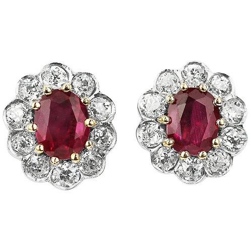 SSEF Certified Natural Burma, Myanmar Ruby, Pigeon Blood & Diamonds Earrings