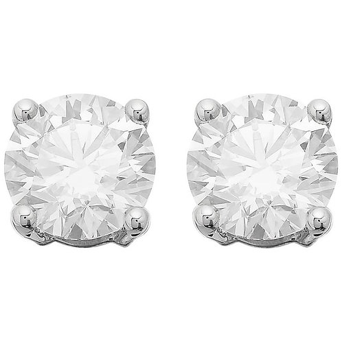 GIA Certified Solitaire Stud Round Brilliant Diamond Earrings 3.06 Carat G VS1