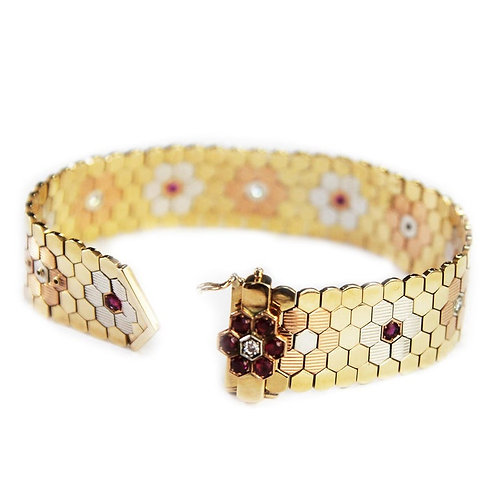 Retro 1950's Rose, Yellow, White Gold Ruby & Diamond Wide Band Buckle Bracelet