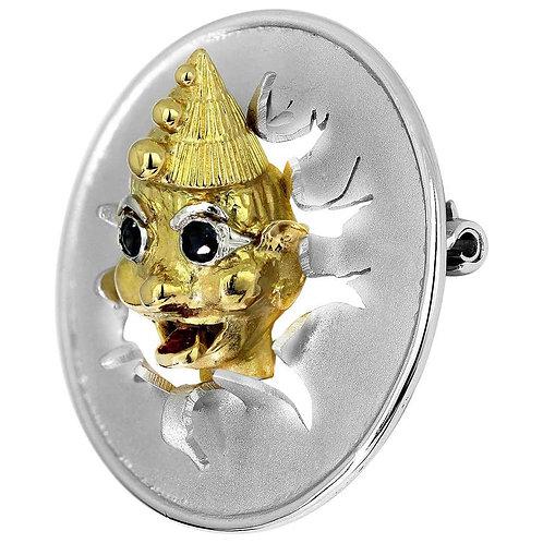 Bespoke Clown Brooch by Albion Craft, Ruby Sapphire in Bimetal 18 K Gold, Retro