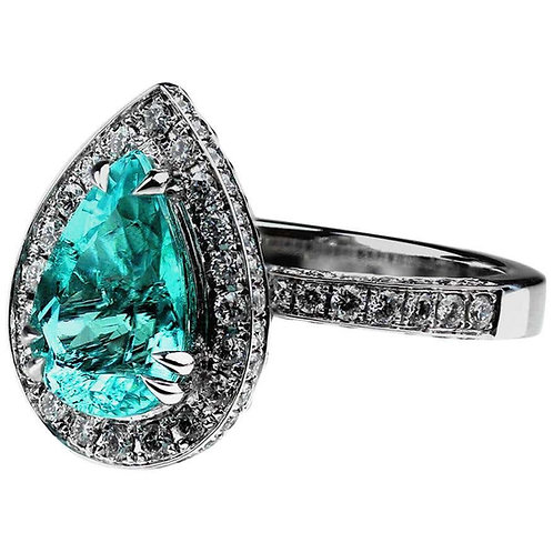 GGTL Certified 2.55 Carat Paraiba Tourmaline Diamond Engagement Ring