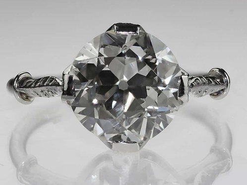 Antique Single Stone Old European Cut Diamond 2.5 Carat, Ring, Platinum