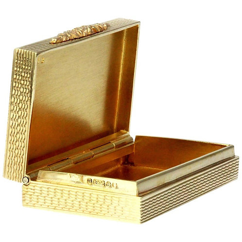 Vintage Pill/Snuff Box in 9 Carat Yellow Gold, British Hallmarked 1965