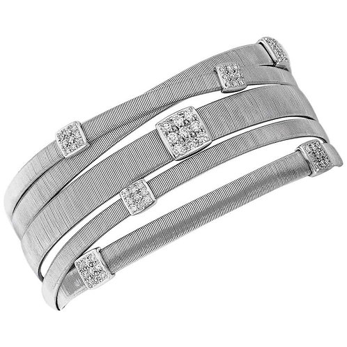 Marco Bicego Five-Strand Maisai Bracelet with Diamonds in 18 Carat White Gold