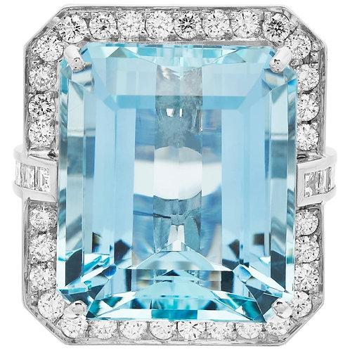 Big Aquamarine 'Emerald Cut' and Diamond Ring in British Hallmarked 18k Gold