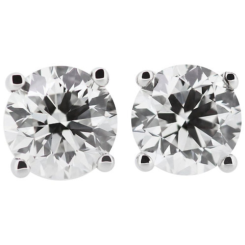 GIA Certified Round Diamond 4.04ct F VS2 Single Stone/Solitaire Stud Earrings