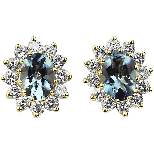 Oval Shape Aquamarine with Diamonds Cluster Earrings in 18 Carat Yellow Gold